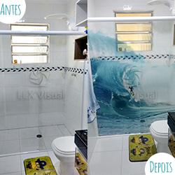 Adesivo para box de banheiro com impressão no Clear