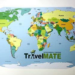 Painel Fotográfico para Decoração com Mapa Mundi