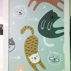 Adesivo para porta de vidro - Gatinhos