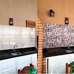 Adesivo para azulejo - Decoração de Churrasqueira - Antes e Depois - São Paulo