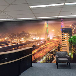 Painel fotográfico com imagem de São Paulo
