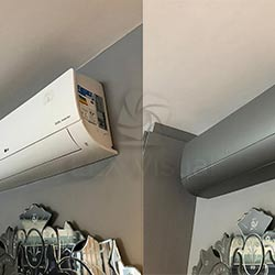 Envelopamento de ar condicionado no Jardim Paulista - Jateado Silver - Antes e Depois