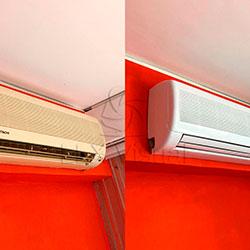 Antes e Depois - Envelopamento de ar condicionado com branco fosco - Pinheiros - São Paulo SP