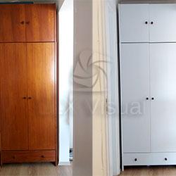 Envelopamento de armário com branco fosco - Indianápolis - São Paulo - Antes e depois
