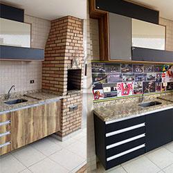 Antes e depois - Envelopamento de gabinete de pia de churrasqueira - Adesivo preto fosco e Painel Fotográfico