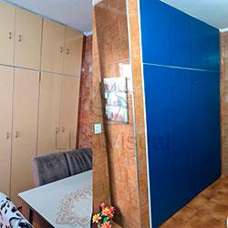 Envelopamento de armário com Azul Indigo - Antes e Depois - Jd. Cipava - Osasco - SP