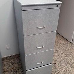 Envelopamento de armário - arquivo - balcão - Linho Azul Allure - Centro - SP