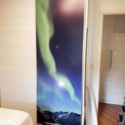 Envelopamento de porta de armário com imagem