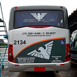 Adesivo atendimento ao cliente EMTU, adesivo disque denúncia, adesivo identificação veículos fretamento e transporte metropolitano