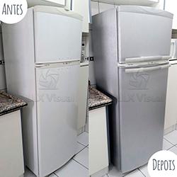 Envelopamento de geladeira com Aço Escovado em SP - Antes e depois
