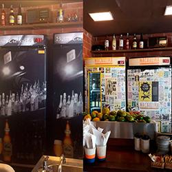 Envelopamento geladeira expositora Bar Macaxeira - Antes e Depois