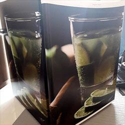 Envelopamento de frigobar com Imagem de Caipirinha