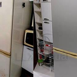 Envelopamento de geladeira com Aço Escovado - Zona Oeste - São Paulo - Antes e Depois