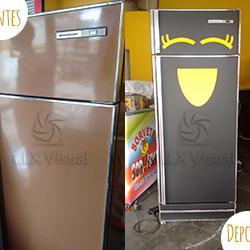 Envelopamento de geladeira - Antes e Depois