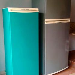Envelopamento de geladeira Verde Azul e Cinza em SP