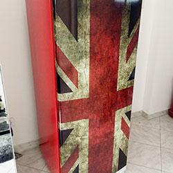 Envelopamento de geladeira com impressão - Bandeira Inglaterra