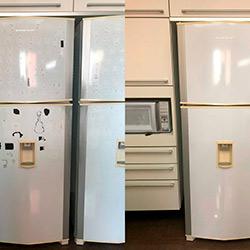 Envelopamento de geladeira com Branco Brilho - Vila Nova Conceição - São Paulo - Antes e Depois