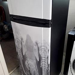 Envelopamento de geladeira com tema de elefantes - São Paulo