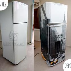 Envelopamento geladeira com imagem - Antes e Depois