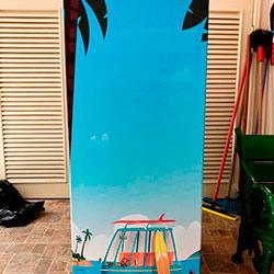 Envelopamento de geladeira com imagem de praia - Bela Vista - São Paulo