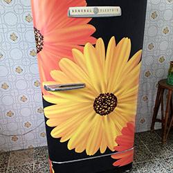 Envelopamento de geladeira com Imagem de Flores