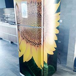 Envelopamento de geladeira com Imagem de Girassol