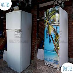Envelopamento geladeira com imagem de Praia - Antes e Depois