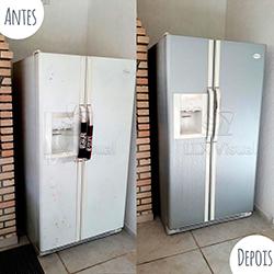 Envelopamento de geladeira Side By Side com Aço Escovado em SP - Antes e depois