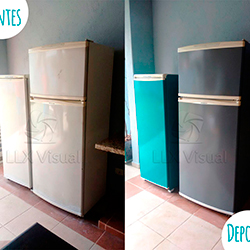 Envelopamento de geladeira Verde Turquesa e Cinza - Antes e depois