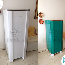 Envelopamento de geladeira na Vila Mariana - Azul Turquesa - Antes e Depois