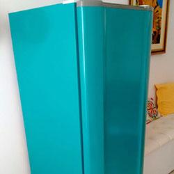 Envelopamento de geladeira na Vila Mariana em cor Verde Turquesa