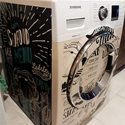 Envelopamento de máquina de lavar roupa com imagem personalizada