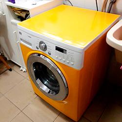 Envelopamento de máquina de Lavar Roupa com Amarelo em SP