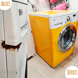 Envelopamento de máquina de Lavar Roupa com Amarelo  - Antes e depois
