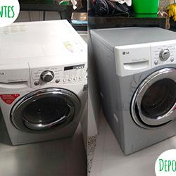 Envelopamento de máquina de lavar roupa - Antes e depois