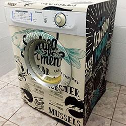 Envelopamento de máquina de lavar roupa com imagem no Campo Belo - São Paulo